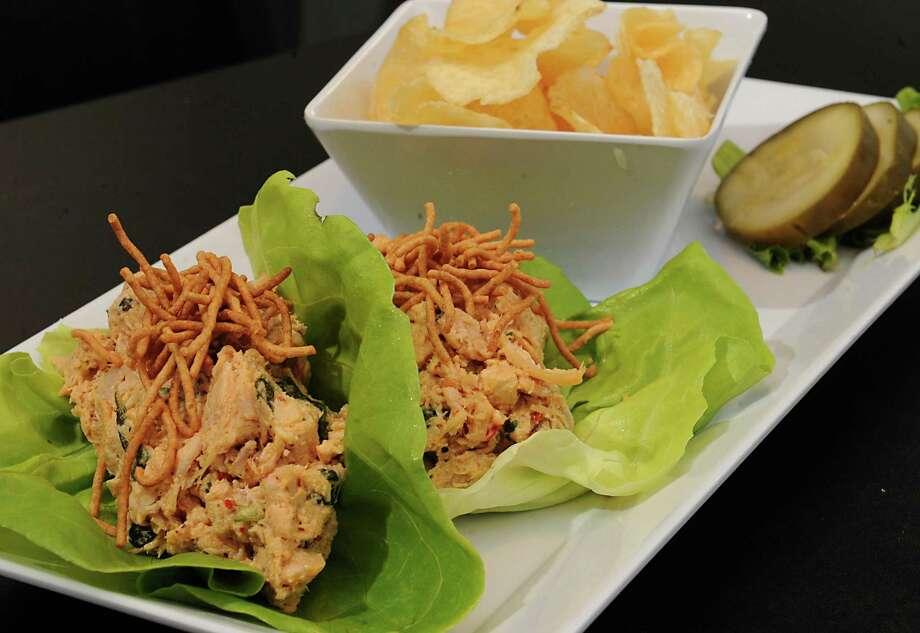 Thai chicken salad lettuce wraps at B-Rad's Bistro Friday, Oct. 16, 2015 in Troy, N.Y. The wraps include sweet n spicy chicken salad wrapped in lettuce with crunch noodles. (Lori Van Buren / Times Union) Photo: Lori Van Buren / 10033773A