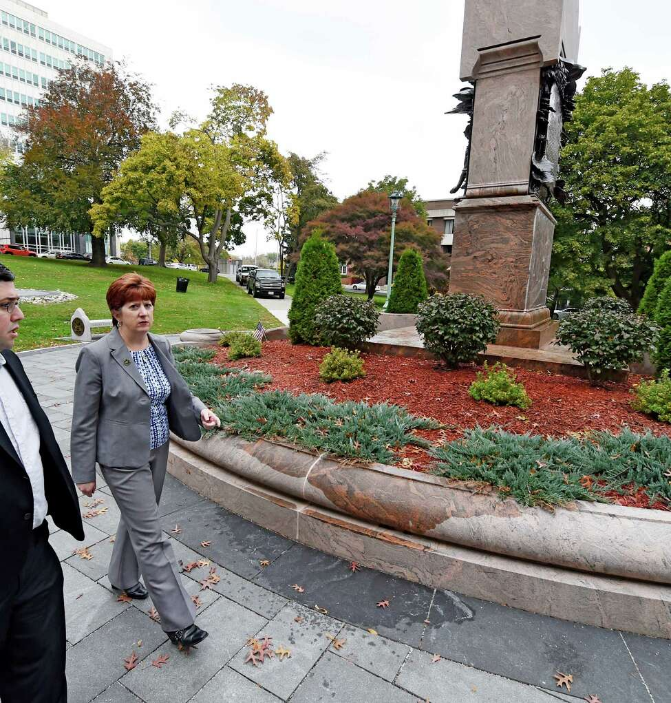 Albany Mayor Kathy Sheehan arrives at the Vietnam War Memorial in Academy Park Thursday morning Oct. 22, 2015 in Albany, N.Y. (Skip Dickstein/Times Union)