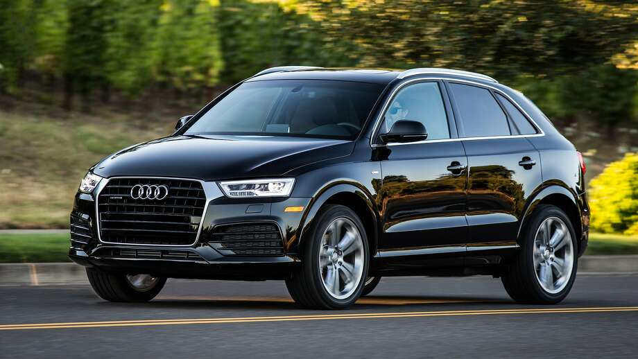 Audi's Q3 compact crossover offers quattro all-wheel-drive, full LED headlights, 19-inch wheels, and onboard WiFi for up to eight devices. Folding the second row seats provides 48 cubic feet for cargo. Photo: Audi