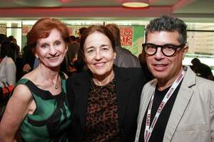 Trish Rigdon, from left, Andrea White and Richard Herskowitz at the Cinema Arts Festival launch party at the Alley Theatre.