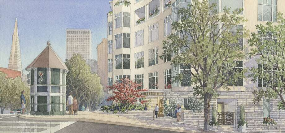 A rendering of the proposed 875 California, a six-story condominium proposed for the high-visibility corner of Powell and California streets. The design, still at an early stage, is for Grosvenor Americas by Robert A. M. Stern Architects. Photo: Rendering By Michael McCann, Robert A. M. Stern Architects