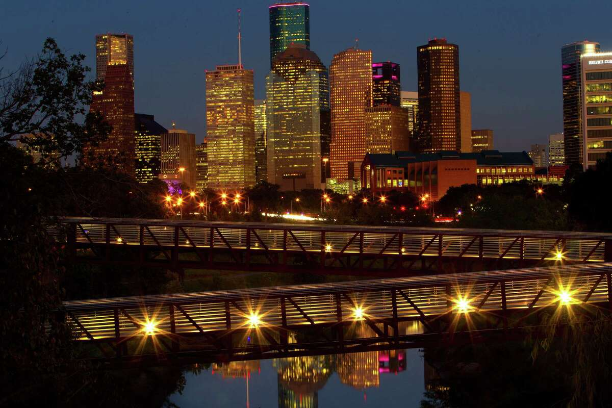 Downtown Houston at dusk looking east over the Buffalo Bayou, Tuesday, Oct. 13, 2015, in Houston. ( Mark Mulligan / Houston Chronicle )