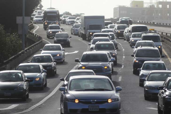 Vehicles exiting Interstate 280 at 6th Street sit in traffic on Monday, February 9, 2014 in San Francisco, Calif.