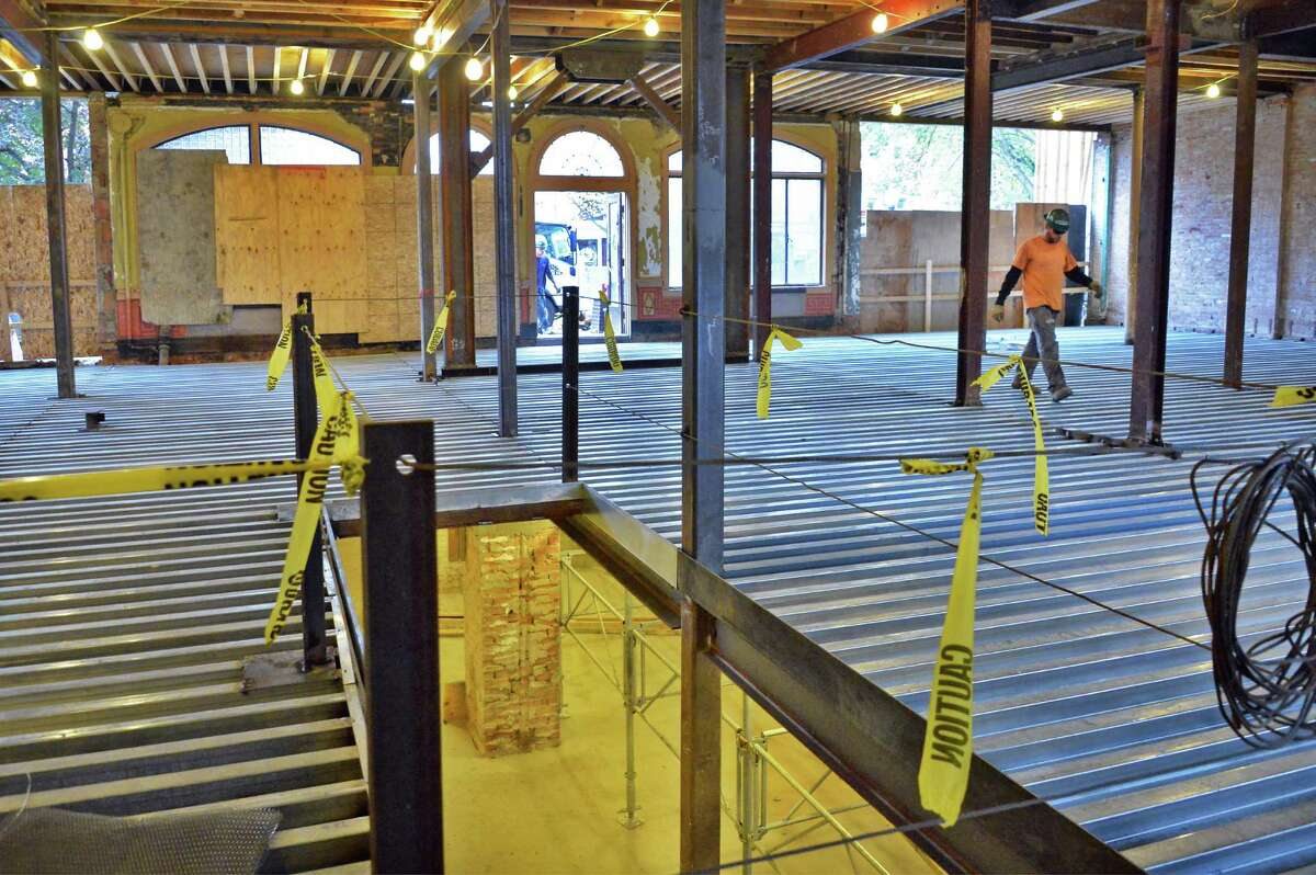The lobby, dining room and bar area looking toward Broadway at the renovated 19th C. Adelphi Hotel Thursday Oct. 22, 2015 in Saratoga Springs, NY. (John Carl D'Annibale / Times Union)
