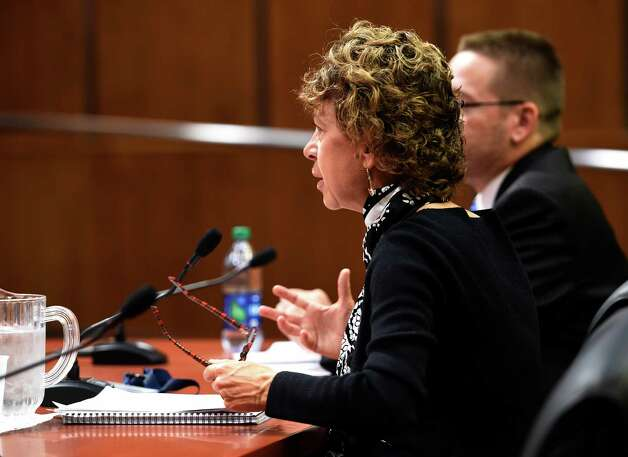 Mary Beth Labate, budget director, NYS Division of Budget testifies during a hearing by the Assembly Standing Committee on Local Governments and the Assembly Standing Committiee on Cities at the Legislative Thursday morning  Oct. 22, 2015 in Albany, N.Y.   (Skip Dickstein/Times Union) Photo: SKIP DICKSTEIN / 10033725A