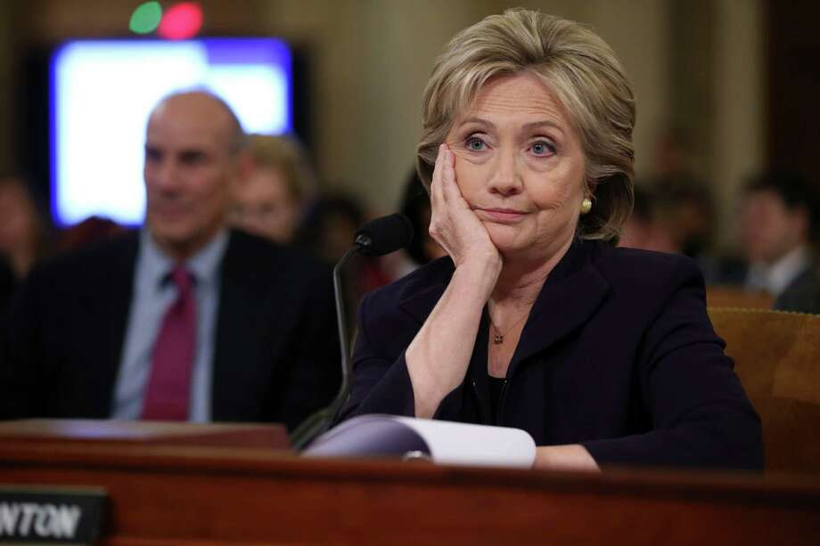 """Former Secretary of State Hillary Rodham Clinton while testifying before the House Select Committee on Benghazi on Capitol Hill, in Washington, Oct. 22, 2015.  Clinton confronted Republican critics on the committee Thursday with a challenge to """"reach for statesmanship"""" in their long-running inquiry into the 2012 attacks that killed four Americans. (Doug Mills/The New York Times) Photo: DOUG MILLS, STF / New York Times / NYTNS"""