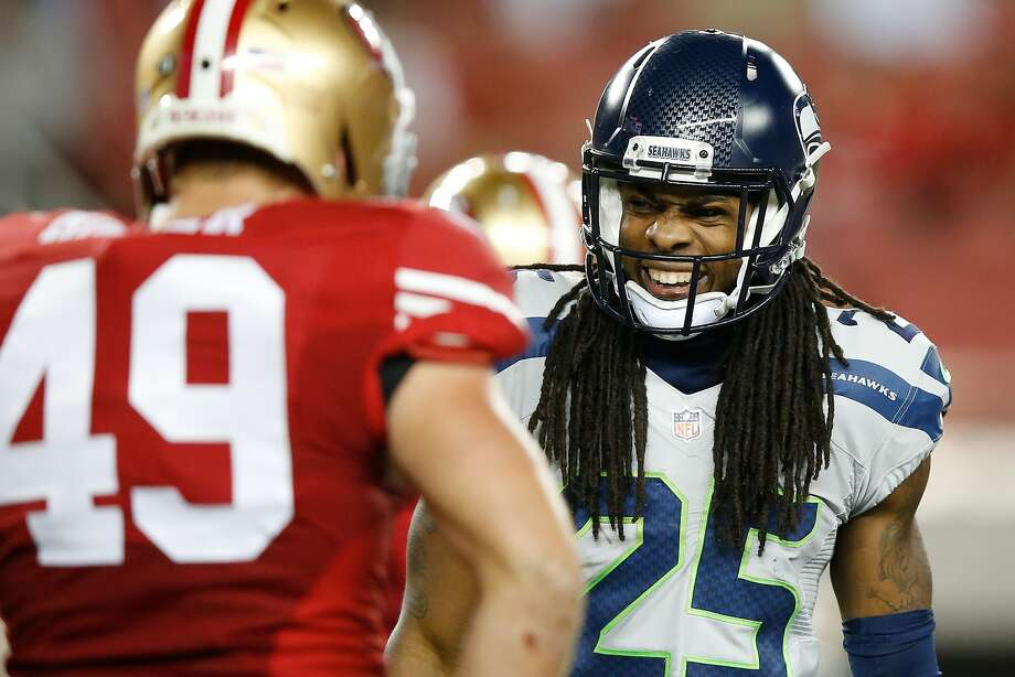 Richard Sherman #25 of the Seattle Seahawks reacts to a play against the San Francisco 49ers during their NFL game at Levi's Stadium on October 22, 2015 in Santa Clara, California.  (Photo by Ezra Shaw/Getty Images) Photo: Ezra Shaw, Getty Images