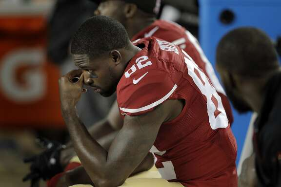 Torrey Smith (82) on the bench near the end of the second half of the 49ers game against the Seattle Seahawks at Levi's Stadium in Santa Clara, Calif., on Thursday, October 22, 2015.