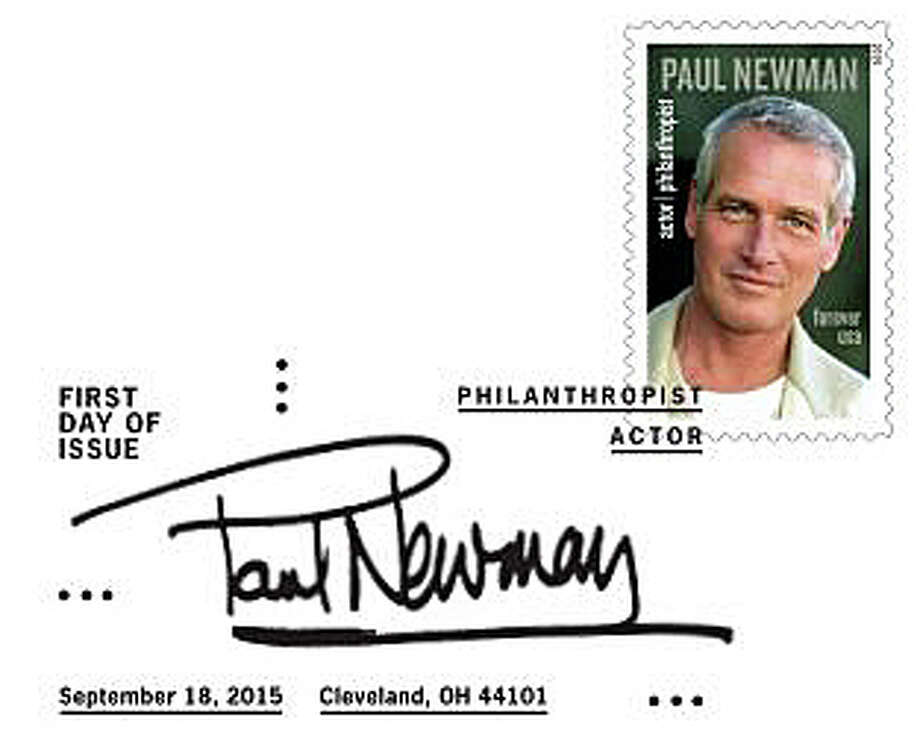 The U.S. Postal Service's new commemorative stamp and postmark for actor, philanthropist and longtime Westport resident Paul Newman. Photo: Contributed Photo / Westport News
