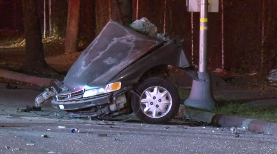 One passenger died in a wreck that tore a car in two pieces Thursday night near S. Gessner and Bissonet. Photo: Metro Video