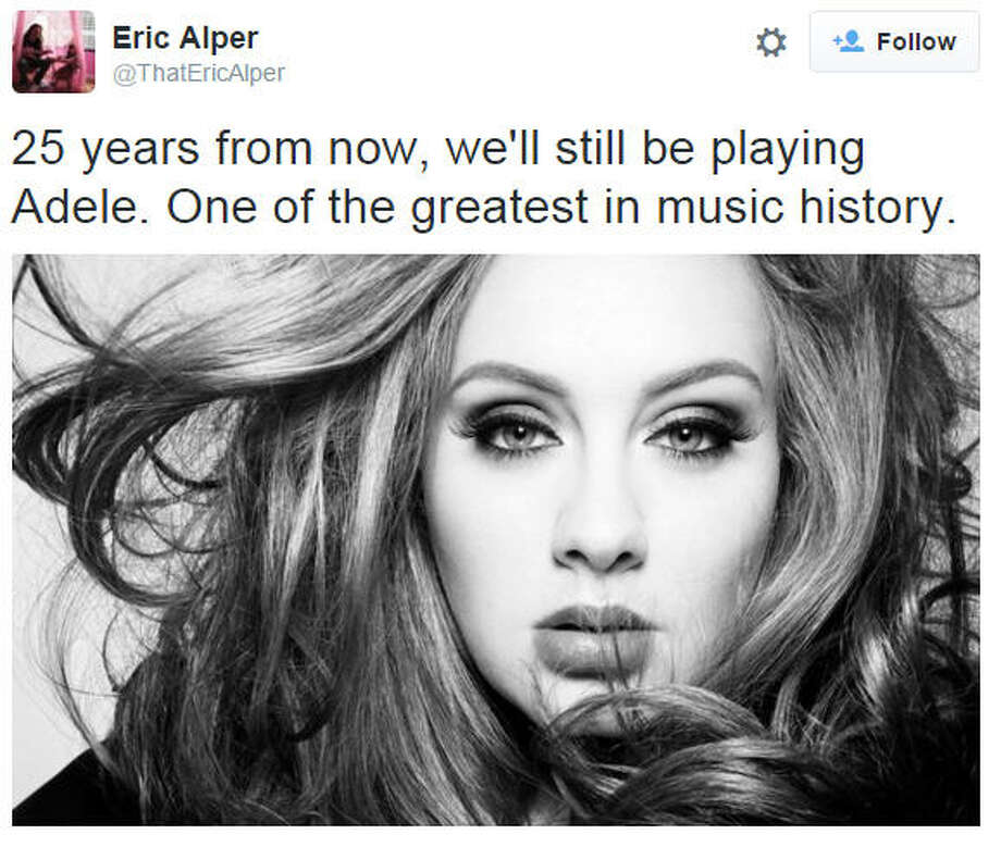"""AdeleHer """"Hello"""" is the fastest-selling single in 15 years. Photo: Twitter"""