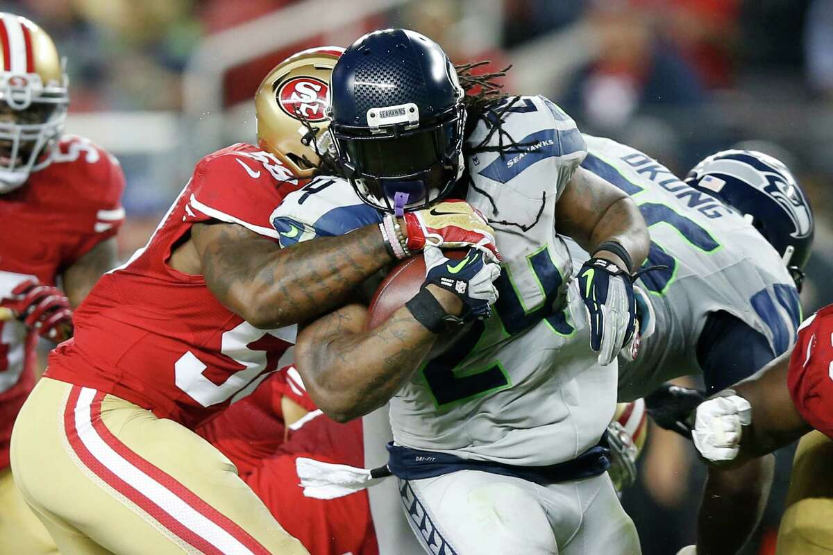 Running backs: Marshawn Lynch looked like Marshawn Lynch for the first time in the 2015 season on Thursday night, rumbling through the 49ers defense for 122 yards on 27 carries, even after he was Thomas Rawls and Fred Jackson also performed well in their respective roles, while fullback Will Tukuafu was a battering ram. Grade: A