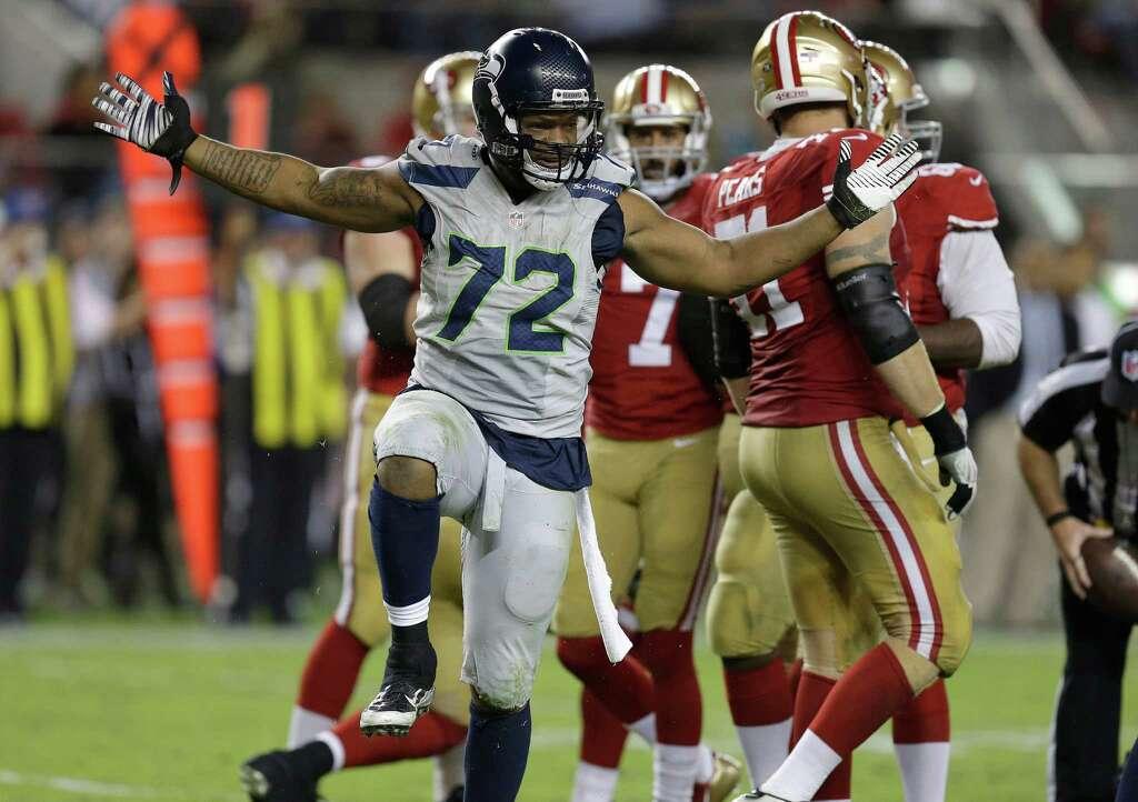 ... Seattle Seahawks defensive end Michael Bennett (72) reacts after  sacking San Francisco 49ers quarterback ... e79007e22