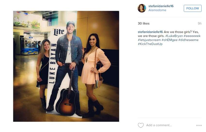 What show did Instagram user@christophermatz attend? Those cowboys boots and that life-size poster give it away. Yes, she saw Luke Bryan.