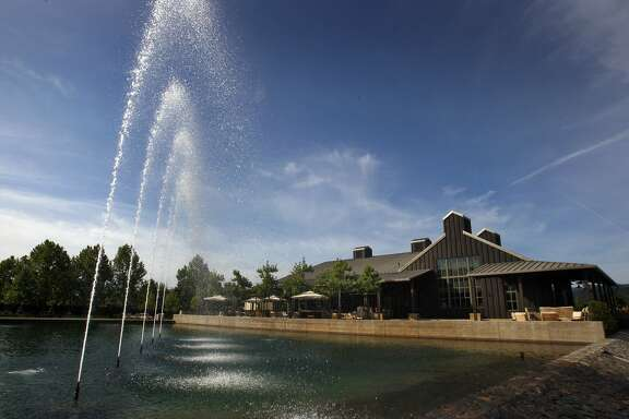 Alpha Omega Winery has a fountain that shoots water straight up in the air which can be seen from Hwy 12 off a Mee Lane in Rutherford, California.