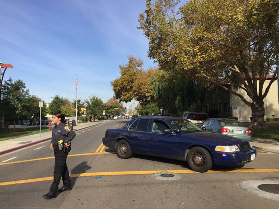 Police are investigating an officer-involved shooting near San Leandro High School Friday morning that prompted a lockdown of the school. Photo: Kale Williams / The Chronicel
