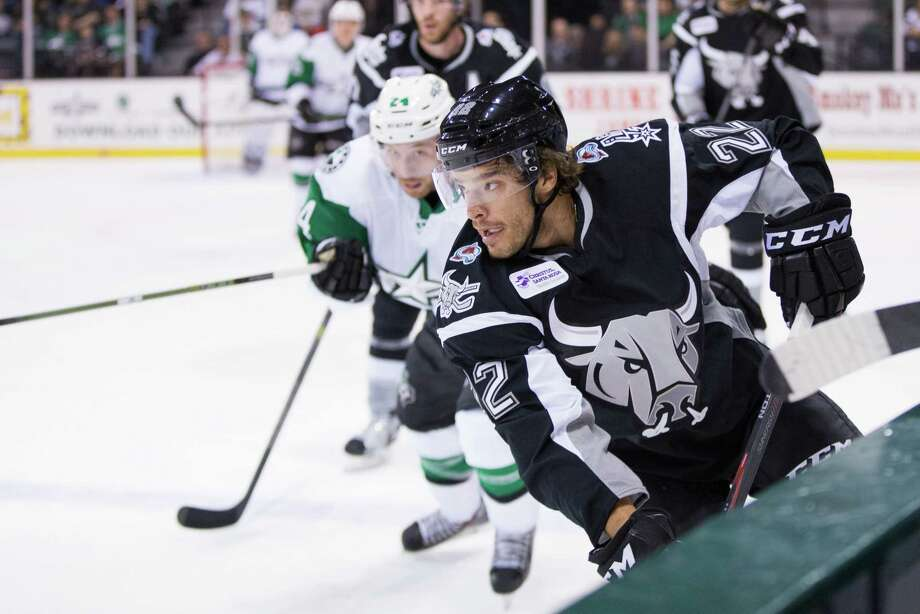Zach Redmond of the San Antonio Rampage in action during an American Hockey League preseason game against the Texas Stars in cedar Park in 2015. Photo: Christina Shapiro /S.A. Rampage