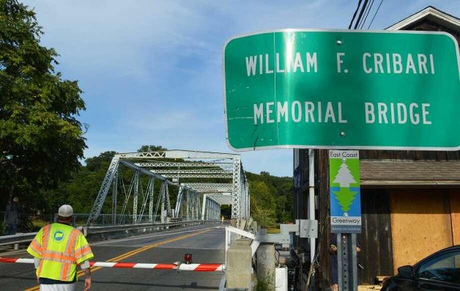 The Bridge Street bridge, formally known as the William F. Cribari Memorial Bridge, over the Saugatuck River. Photo: Westport News / File Photo