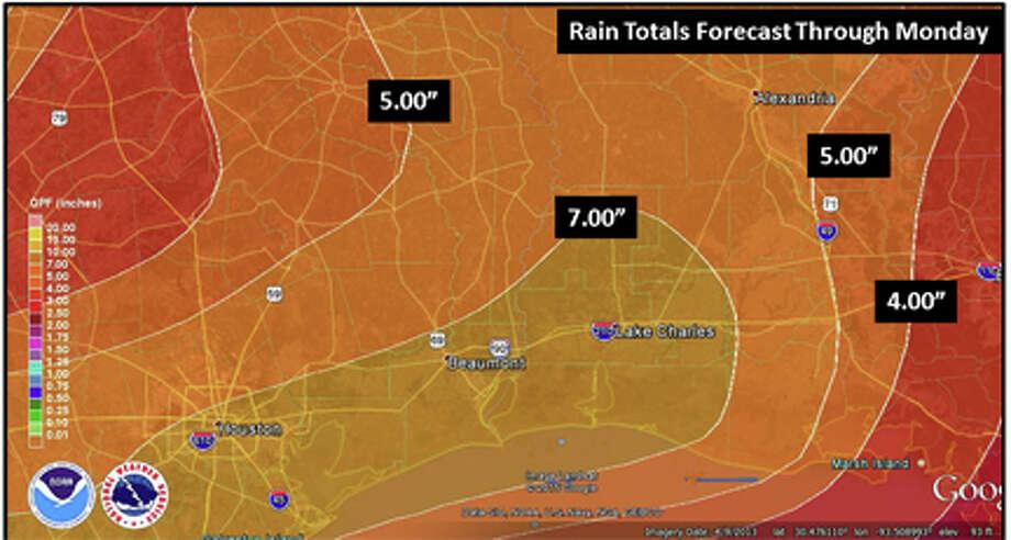 Rainfall forecast totals through Monday NOAA