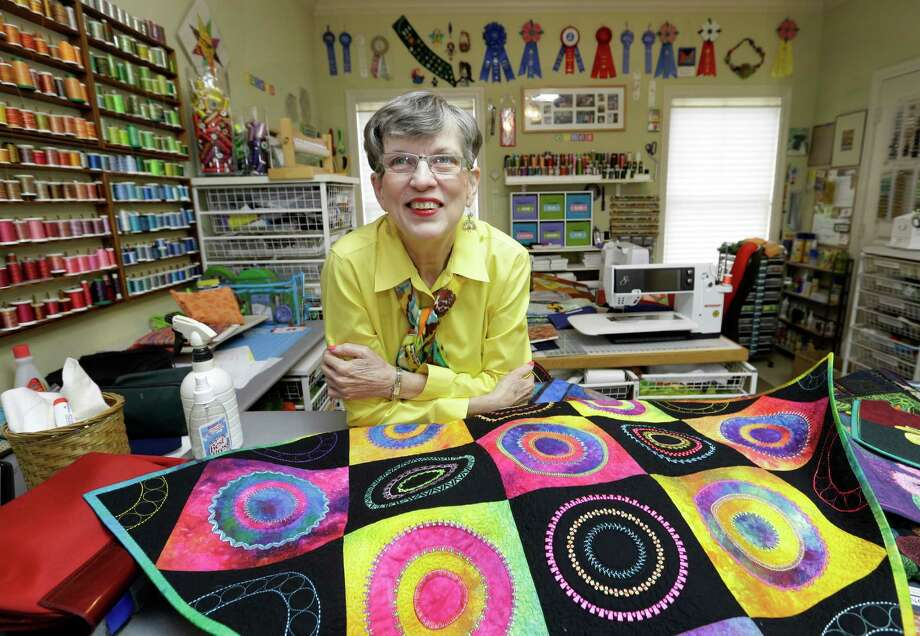 Libby Lehman was a world-famous quilter, author and teacher until a brain aneurysm and stroke in 2013 ended her career. Photo: Melissa Phillip, Staff / © 2015 Houston Chronicle