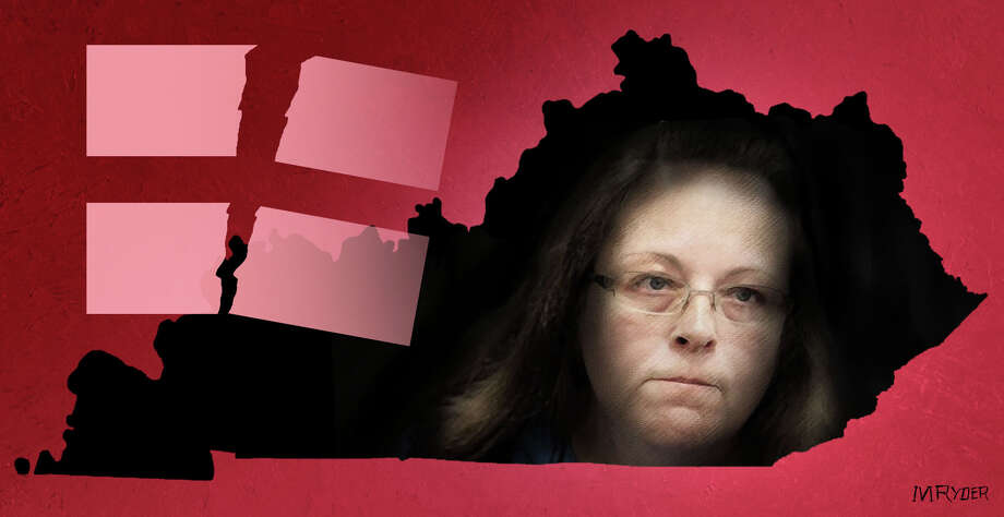 This artwork by M. Ryder refers to Kim Davis, Kentucky clerk. Photo: M. Ryder