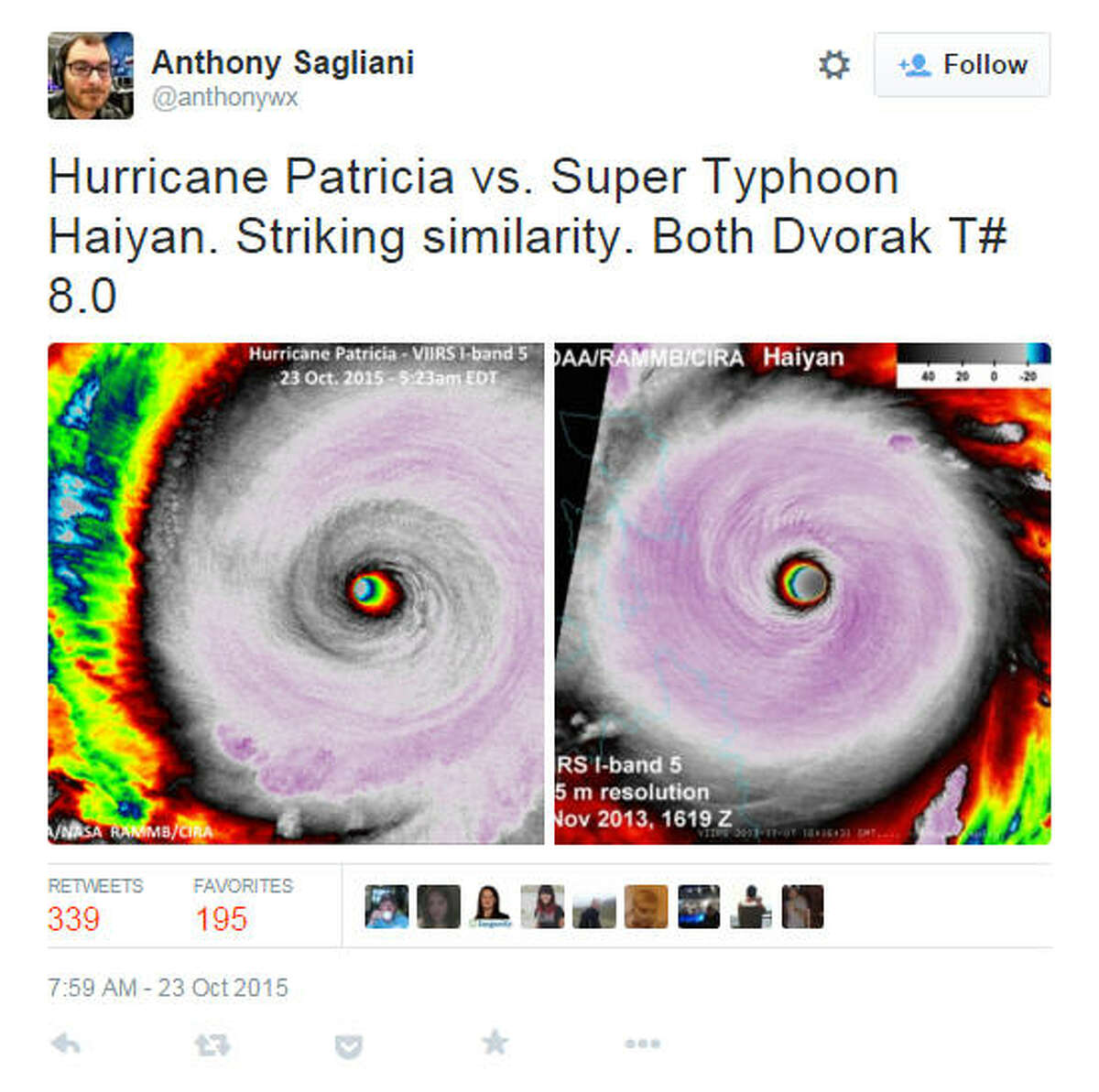 A comparison between Hurricane Patricia and Super Typhoon Haiyan. The typhoon, also one of the strongest storms ever recorded, killed thousands in the Philippines in 2012. Source (Anthony Sagliani / @anthonywx)