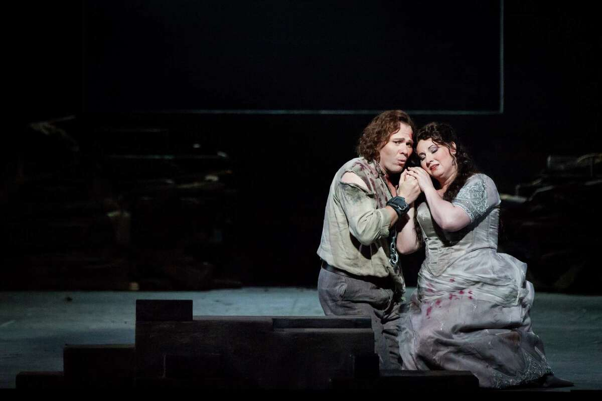 """Alexey Dolgov and Liudmyla Monastyrska star in """"Tosca"""" at Houston Grand Opera."""