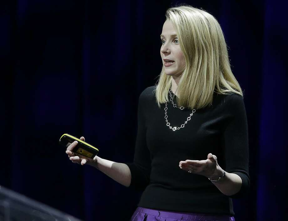 Yahoo President and CEO Marissa Mayer delivers the keynote address at the first-ever Yahoo Mobile Developer Conference Thursday, Feb. 19, 2015, in San Francisco. (AP Photo/Eric Risberg) Photo: Eric Risberg, Associated Press