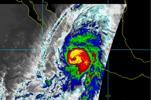 An infrared image of Hurricane Patricia making landfall on the Pacific coast of Mexico.
