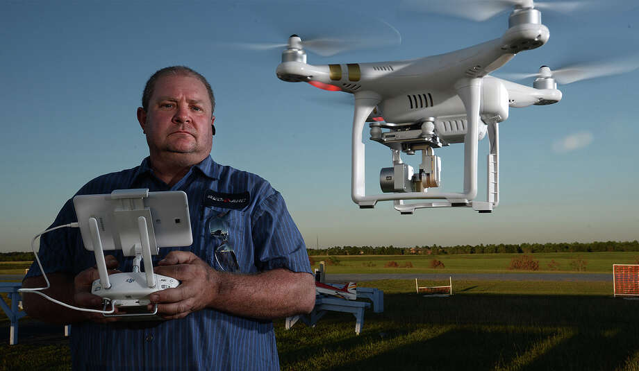 A radio control hobbyist, Chuck Nowell hovers a drone nearby at the Beaumont Radio Control Club on Wednesday.