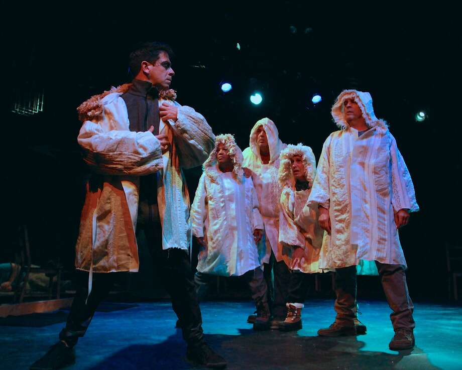 """The cast of BootStrap Theater's world-premiere play """"Arctic Requiem: The STory of Luke Cole and Kivalina"""" includes (from left) Gendell Hernandez as and Cathleen Riddley, Michael Torres, Lynne Soffer and Lawrence Radecker as villagers. The production, about the first climate change refugees in the United States, runs through Nov 15 at Z Below Theater.  Photo by Vicky Victoria Photo: Vicky Victoria"""