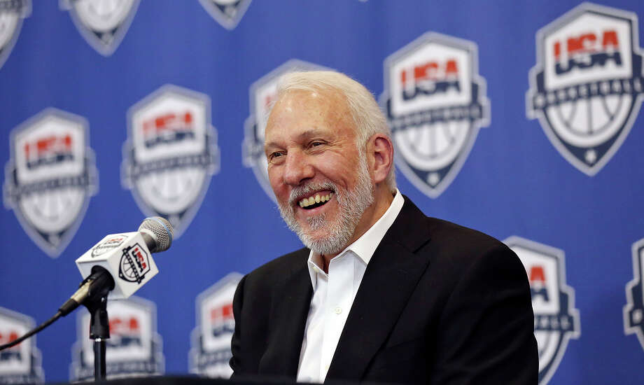 Spurs head coach Gregg Popovich is all smiles as he speaks during a press conference held Oct. 23, 2015 at thepractice facility. Popovich was named Team USA coach for 2017-2020. Photo: Edward A. Ornelas /San Antonio Express-News / © 2015 San Antonio Express-News