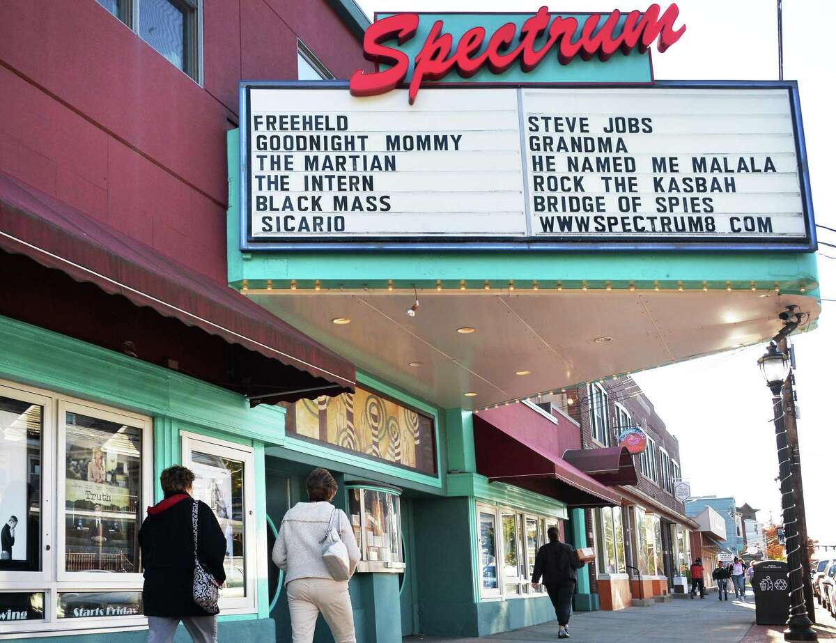 The Spectrum 8 Theatres on Delaware Avenue in Albany reopens April 20, 2021. (John Carl D'Annibale/Times Union)