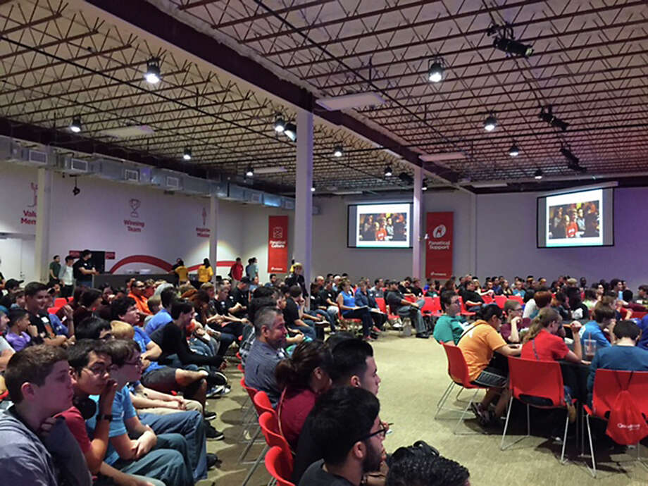 Area students last month attend a clinic to help them prepare for the 2015-2016 CyberPatriot competition. About 400 students will get additional guidance today at Rackspace. Photo: Courtesy Photo