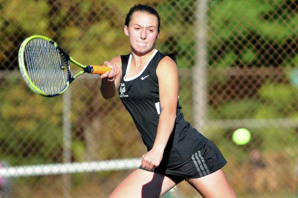 Bethlehem's Emma DeFrancesco returns the ball during Section II tennis team championships against Shaker's Haejin Lee on Friday, Oct. 23, 2015, at Central Park in Schenectady, N.Y. (Cindy Schultz / Times Union)