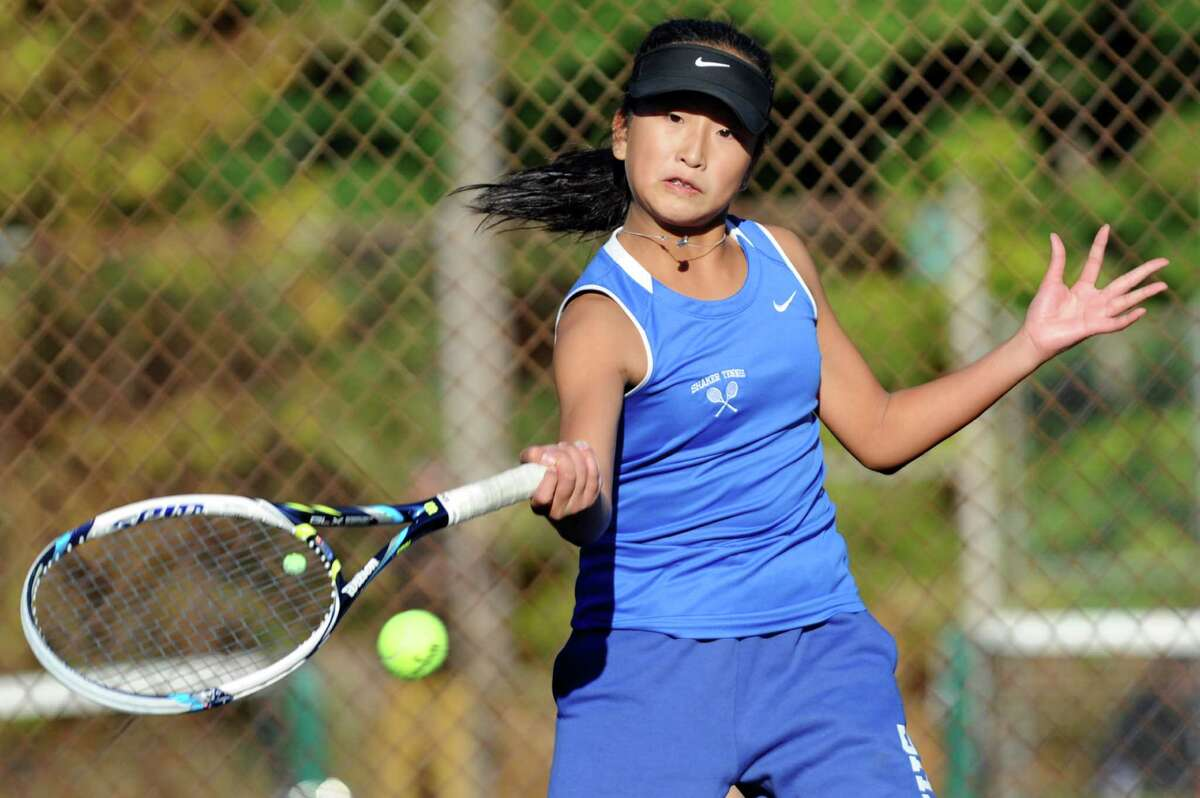 Shaker's Haejin Lee returns the ball during Section II tennis team championships against Bethlehem's Emma DeFrancesco on Friday, Oct. 23, 2015, at Central Park in Schenectady, N.Y. (Cindy Schultz / Times Union)