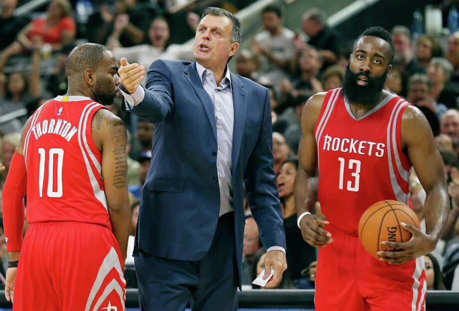8534b5b720c3 Houston Rockets head coach Kevin McHale (center) looks for a call during a  timeout