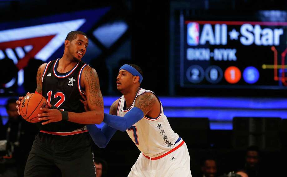 LaMarcus Aldridge of the Western Conference in action against Carmelo Anthony of the Eastern Conference during the 2015 NBA All-Star Game at Madison Square Garden on February 15, 2015 in New York City. Photo: Jim McIsaac /Getty Images / 2015 Jim McIsaac