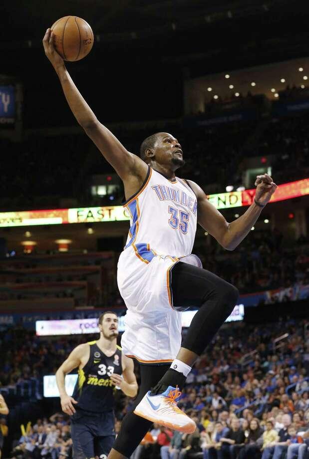 Odds to Win NBA Scoring TitleKevin Durant (OKC Thunder): 7/2James Harden (Houston Rockets): 7/2Russell Westbrook (OKC Thunder): 5/1LeBron James (Cleveland Cavaliers): 10/1Anthony Davis (New Orleans Pelicans): 12/1DeMarcus Cousins (Sacramento Kings): 15/1Stephen Curry (GS Warriors): 15/1Damian Lillard (Portland Trail Blazers): 25/1 Photo: Sue Ogrocki /Associated Press / AP