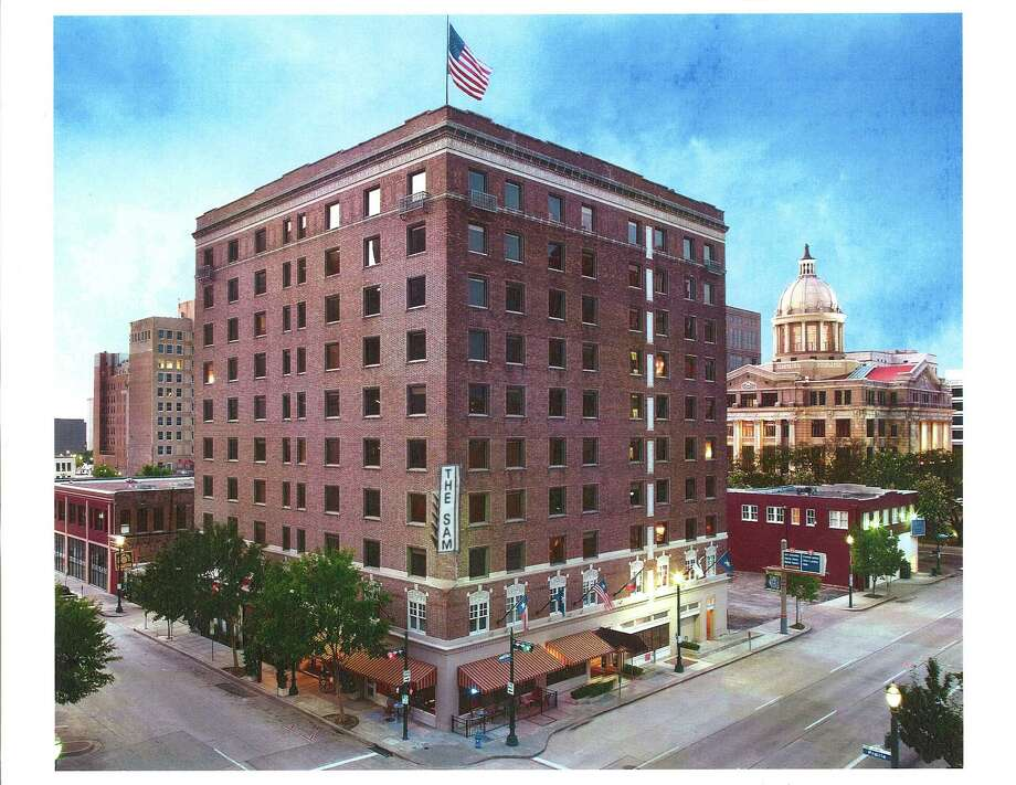 The Sam Houston Hotel, a 100-room property at 1117 Prairie. Built in 1924, the Sam Houston Hotel is listed on the National Registry of Historic Hotels.