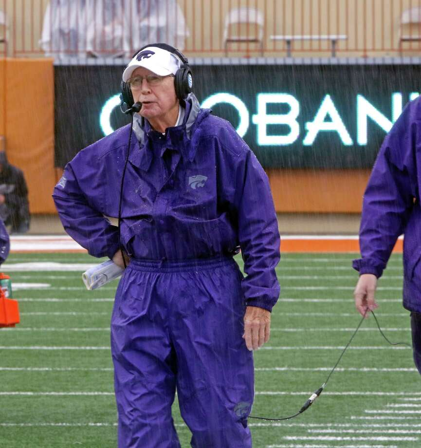 Kansas State head coach Bill Snyder looks on as rain falls during the second half of an NCAA college football game against Texas, Saturday, Oct. 24, 2015, in Austin, Texas. Texas won 23-9. (AP Photo/Michael Thomas) Photo: Michael Thomas, Associated Press / FR65778 AP