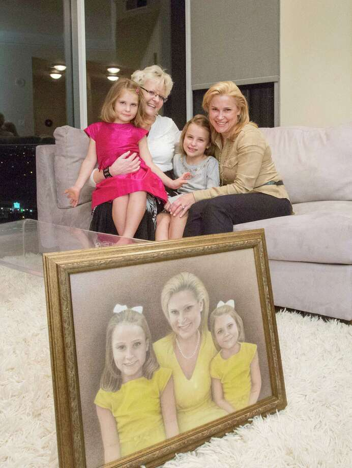 From left, Catherine Cruz, 4, Betty Odgaard, Caroline Cruz, 7, and Heidi Cruz, pose for a photo at a private residence Thursday, Oct. 22, 2015, in Houston. Odgaard, who was sued with her husband Richard for refusing to do same-sex marriages in their Grimes, Iowa gallery, drove from Dallas with her husband to give a pencil drawing to Cruz featuring her and her two daughters.  ( Jon Shapley / Houston Chronicle ) Photo: Jon Shapley, Staff / Houston Chronicle / © 2015  Houston Chronicle