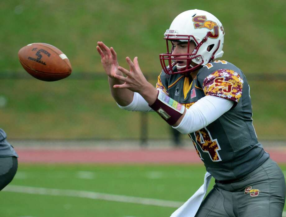 St. Joseph might not be loaded with playmakers like past years, but don't dismiss its chances of contending in Class M. QuarterbackCory Babineauaccounted for five touchdowns, andChristian Trefzran for 186 yards and two touchdowns in a 49-28 victory over Warde on Saturday, moving the Cadets to 4-1. Photo: Christian Abraham / Hearst Connecticut Media / Connecticut Post