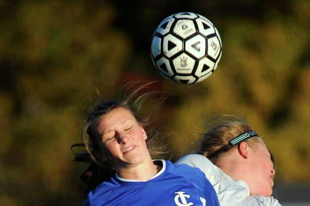 Ichabod Crane's Kirstyn Suhoski, left, beats Schalmont's Jessica Shultis to the header during their soccer game on Friday, Oct. 23, 2015, at Schalmont High in Rotterdam, N.Y. (Cindy Schultz / Times Union)