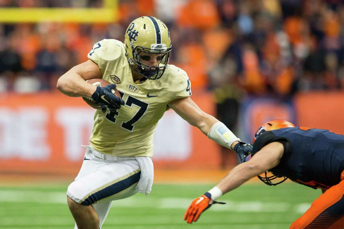 SYRACUSE, NY - OCTOBER 24: Matt Galambos #47 of the Pittsburgh Panthers runs with a reception on a fake punt during the fourth quarter against the Syracuse Orange on October 24, 2015 at The Carrier Dome in Syracuse, New York. Pittsburgh defeats Syracuse 23-20. (Photo by Brett Carlsen/Getty Images) ORG XMIT: 585602221