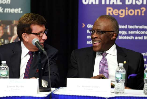 Albany Medical Center CEO James Barba, left and Robert Jones prepare for their turn at presenting their case with the Governor's panel for regional development funds during hearings Tuesday morning Oct. 20, 2015,  in Albany, N.Y.    (Skip Dickstein/Times Union) Photo: SKIP DICKSTEIN / 10033832A