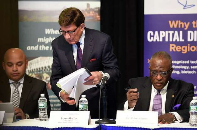 Albany Medical Center CEO James Barba, Center and Robert Jones prepare for their turn at presenting their case with the Governor's panel for regional development funds during hearings Tuesday morning Oct. 20, 2015,  in Albany, N.Y.    (Skip Dickstein/Times Union) Photo: SKIP DICKSTEIN / 10033832A