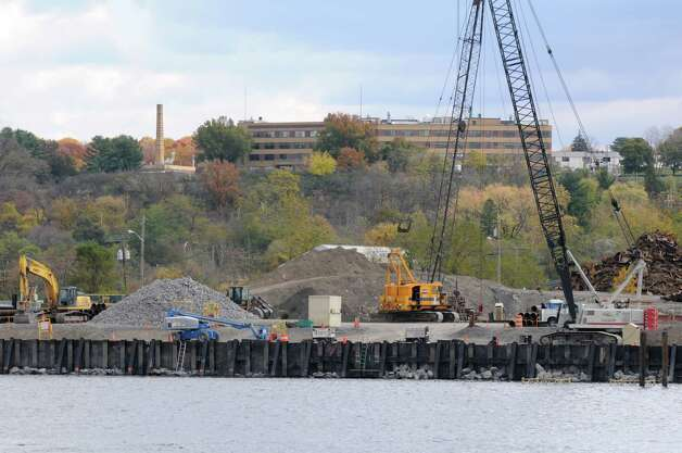 Work continues on improvements made to the Port Rensselaer dock Monday, Oct. 28, 2013, at the Port of Albany in Albany, N.Y. (Will Waldron/Times Union archive) Photo: WW / 00024409A