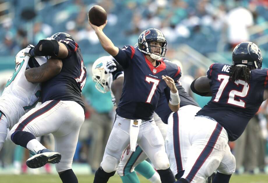 Texans quarterback Brian Hoyer is on pace for a 26-6 touchdown pass to interception ratio this season. Photo: Brett Coomer, Houston Chronicle