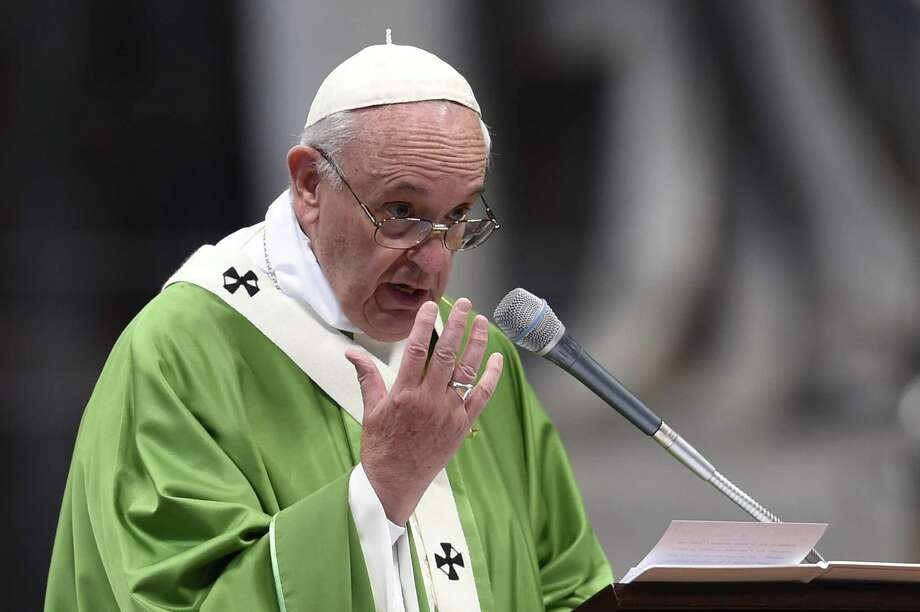 Pope Francis leads a Mass during the synod of bishops at St. Peter's Basilica. Photo: Andreas Solaro /Getty Images / AFP